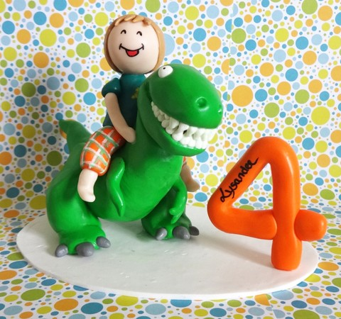 Cake topper Anniversaire - Lysandre dompteur de Tyrannosaure-Rex