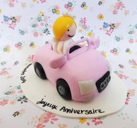 Cake topper Anniversaire - Lyse en cabriolet