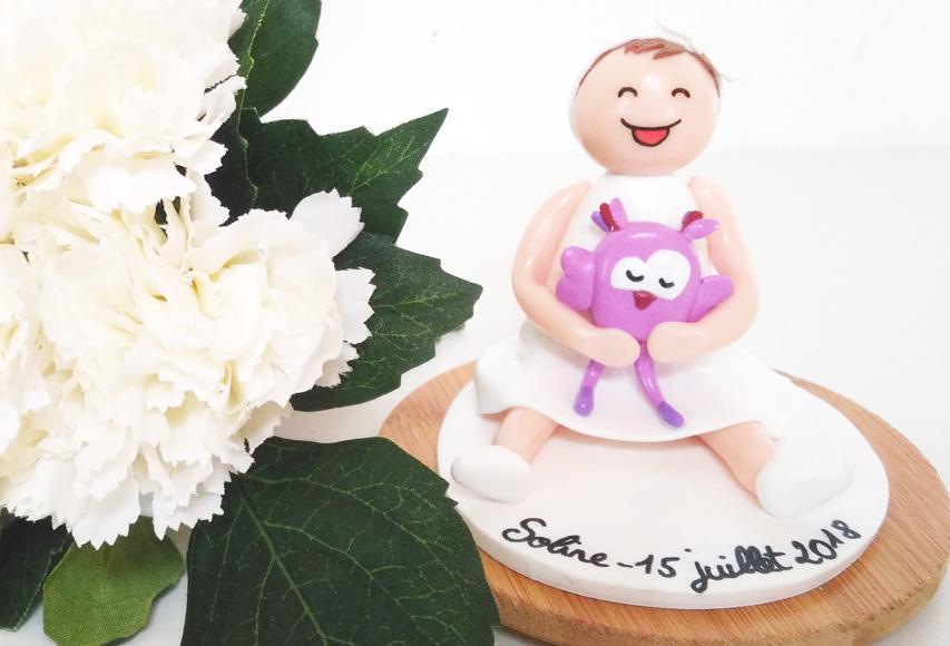 Figurine Soline – Cake topper Baptême personnalisé by Fée Plaisir