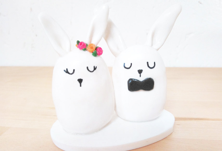 Lapins mignons – Cake topper Animaux Mariage by Fée Plaisir